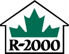 R-2000 black print with half green maple leaf above set in black outline of house - home builder