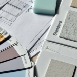 Paint color chips, tile samples and floor plan -new home construction