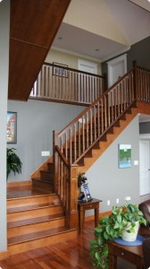 Brown stairwell leading to second level of house