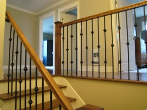 Stairs with decorative wrought iron spindles