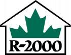 R-2000 black print with half green maple leaf above set in black outline of house - home builder
